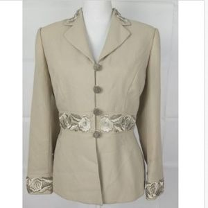 John Meyer of Norwich Floral Cream  jacket sz 6